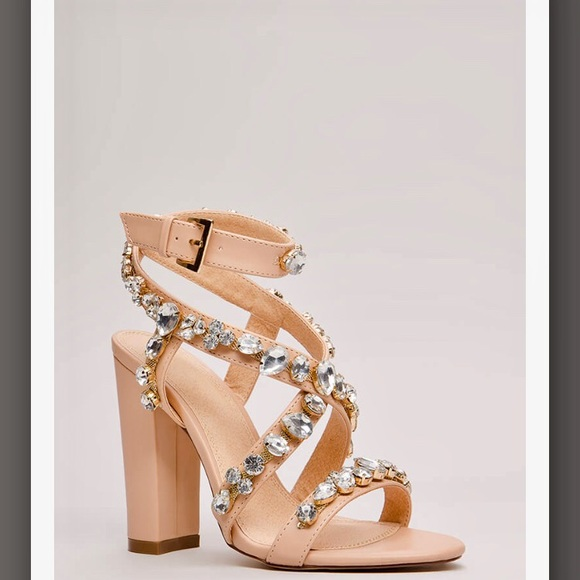 Strappy Faux Jewel Heels- Never Worn